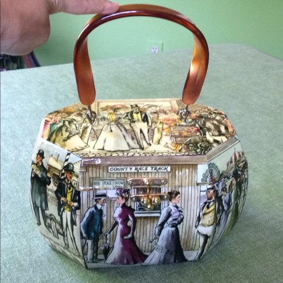 Wood Box Purse Bag Vintage Decoupage Lucite Handle